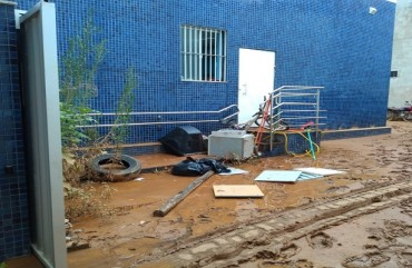 ENXURRADA TAMBÉM AFETOU DELEGACIA DE ALFREDO CHAVES